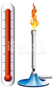 Thermometer and burnsen with flame