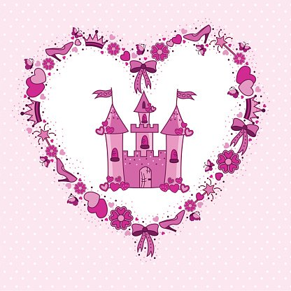 Pink heart of items for the princess from the castle