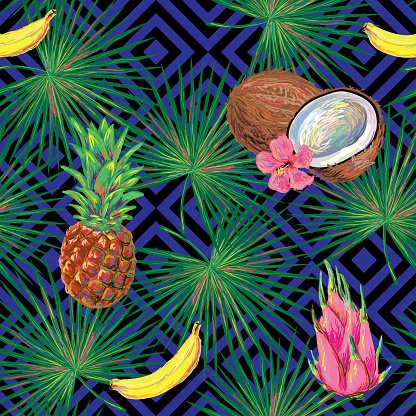 Seamless tropical pattern with fruits