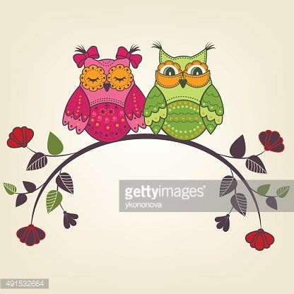 Two beautiful owls on a branch with flowers