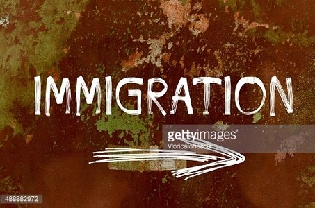 Immigration concept over old painted wall