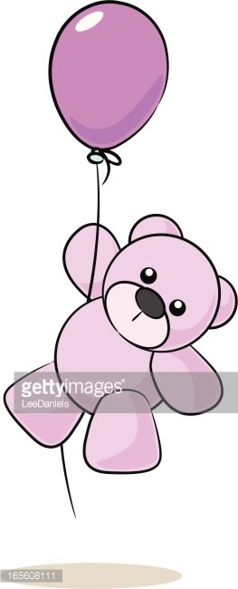 Girl Teddy Bear Hanging From A Balloon Premium Clipart
