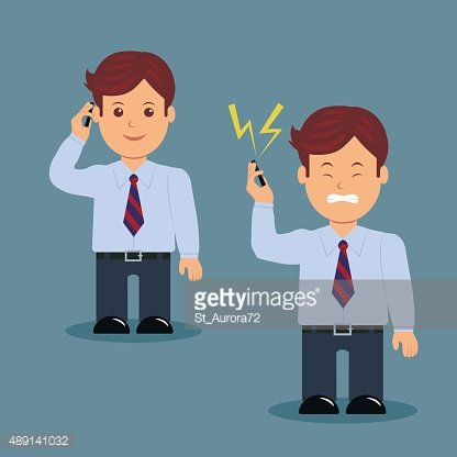 Set of businessman with phone in various action.
