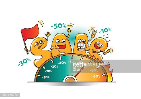 Funny characters of sale: letters with price speedometer