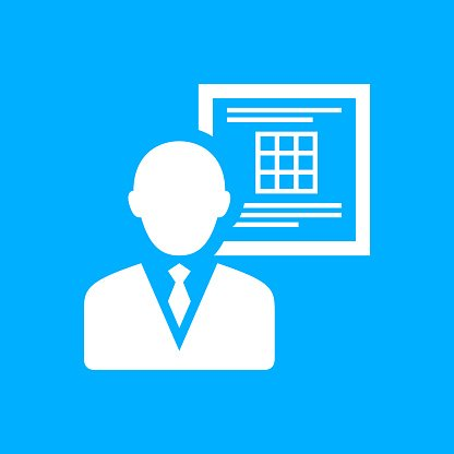 Businessman icon on a blue background.