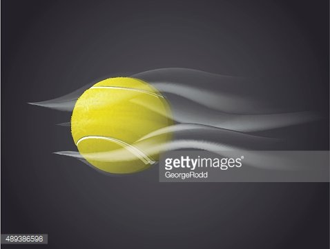 Fast moving Tennis Ball isolated on dark background.