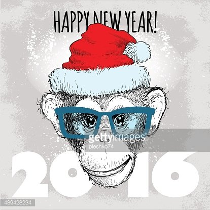 Big face chimpanzee with glasses and christmas hat
