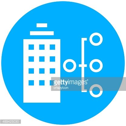 Office Building icon on a round button. - Round Series