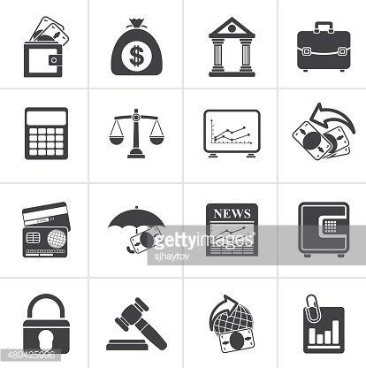 Black Business, finance and bank icons