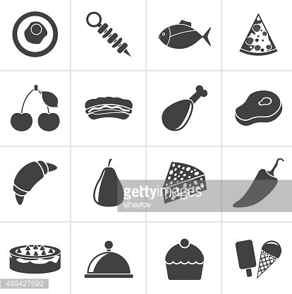 Black Different kind of food icons
