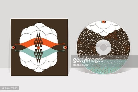 CD cover design template. Abstract linear pattern graphics