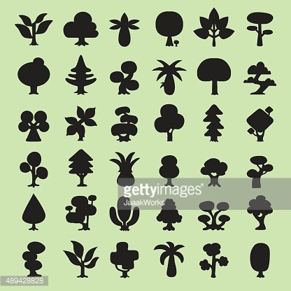 Cartoon vector trees silhouettes collection