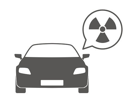 Car with a comic balloon and a radioactivity icon