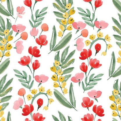 Vintage Watercolor Wallpaper of hand drawn Flowers and Leaf.