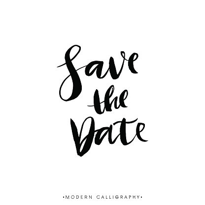 Save the Date. Modern brush calligraphy. Handwritten lettering.