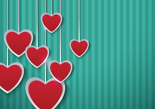 Paper Hearts on Turquoise Background