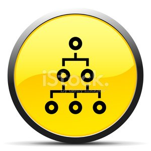 Organization Chart icon on a round button. - Curve Series