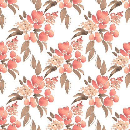 Watercolor illustration with leaves and flowers. Seamless pattern 41