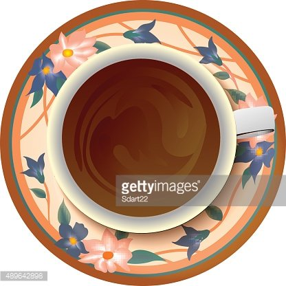 coffee cup flowers paint floral oval frame