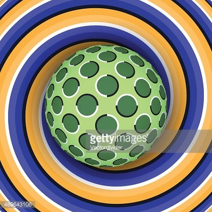 Optical illusion of the ball against moving spiral.