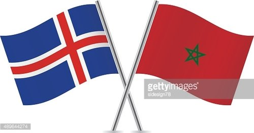 Iceland and Morocco flags. Vector.
