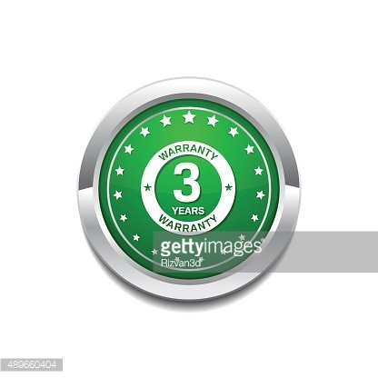 3 Years Warranty Green Vector Icon Button