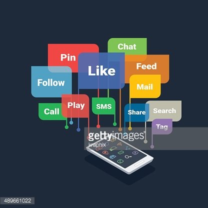 smartphone with social media concept bubbles isolated