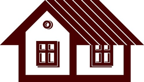 Simple mansion icon isolated on white background, vector