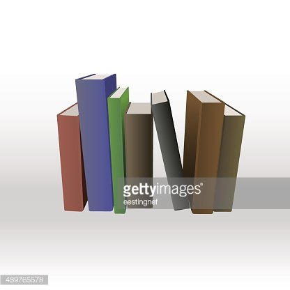 Set of different books.