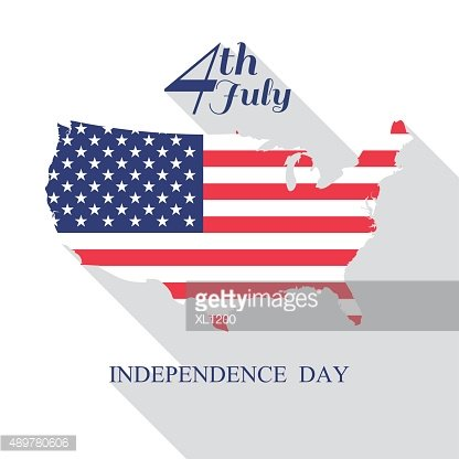 4th of July, independence day with long shadow vector eps10.