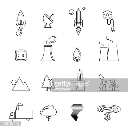 renewable energy, green, eco, creative design line icons set