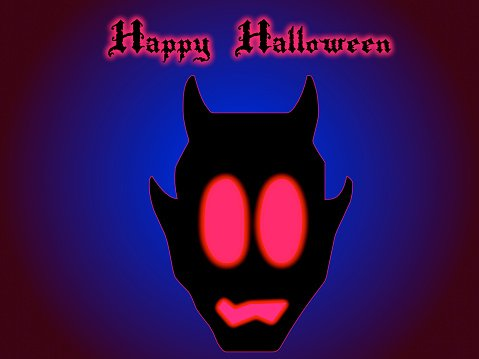 Happy halloween card with devil