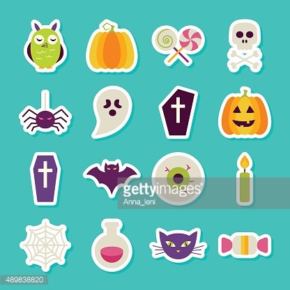 Flat Halloween Party Objects Stickers Set