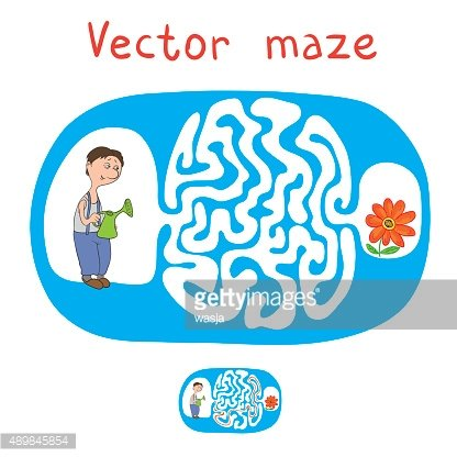 Vector Maze, Labyrinth with Gardener and Plant