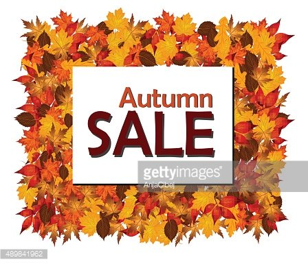 Frame of autumn leaves with autumn sale