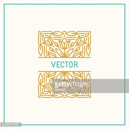 Vector linear frame and floral background