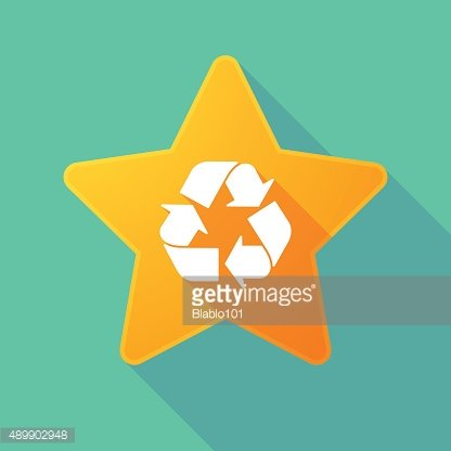 Long shadow star with a recycle icon