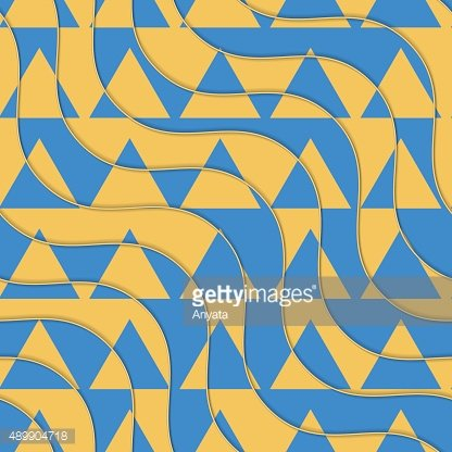 Retro 3D yellow and blue waves with cut out triangles