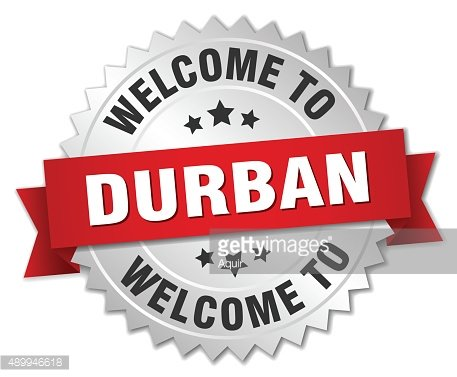 Durban 3d silver badge with red ribbon