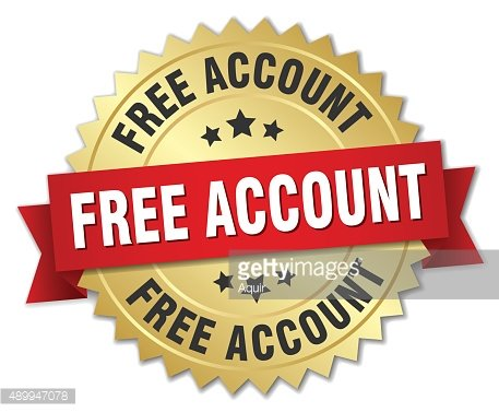 free account 3d gold badge with red ribbon