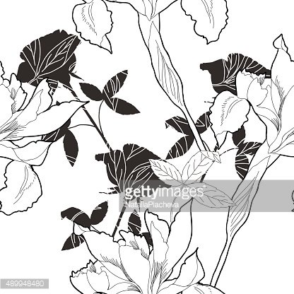 Black and white seamless pattern with flowers-10