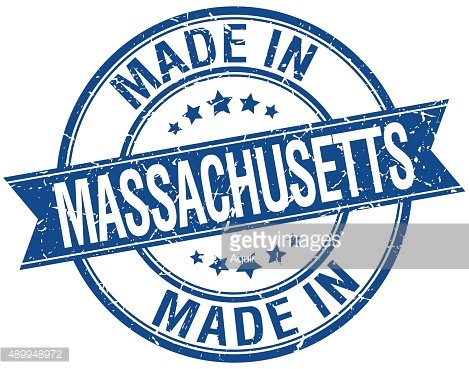 made in Massachusetts blue round vintage stamp