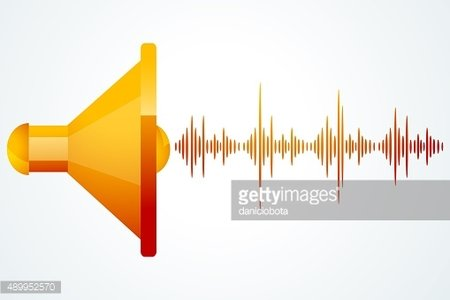 speaker with music waves