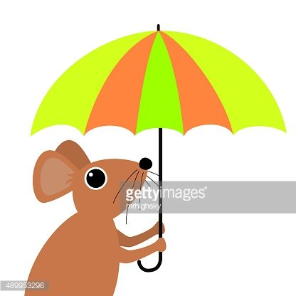 Cute mouse holding an umbrella