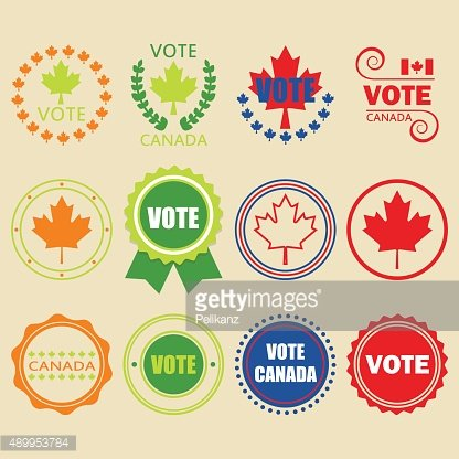 Colorful Vote Canada emblems and design elements set