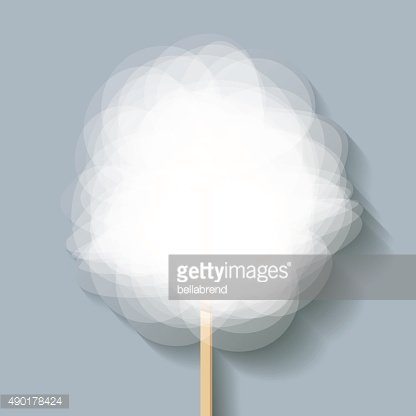 Candy floss white on a grey blue background.