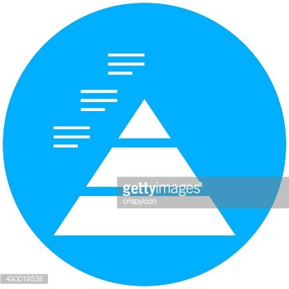 Pyramid icon on a round button. - Round Series
