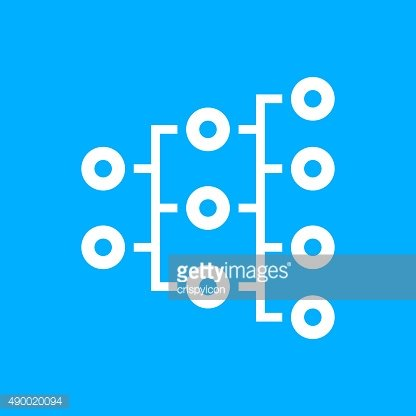 Organization Chart icon on a blue background. - Smooth Series