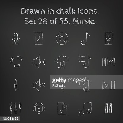 Music icon set drawn in chalk