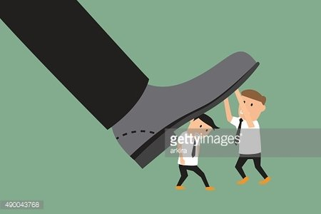 concept photo of conflict between subordinate and boss. business